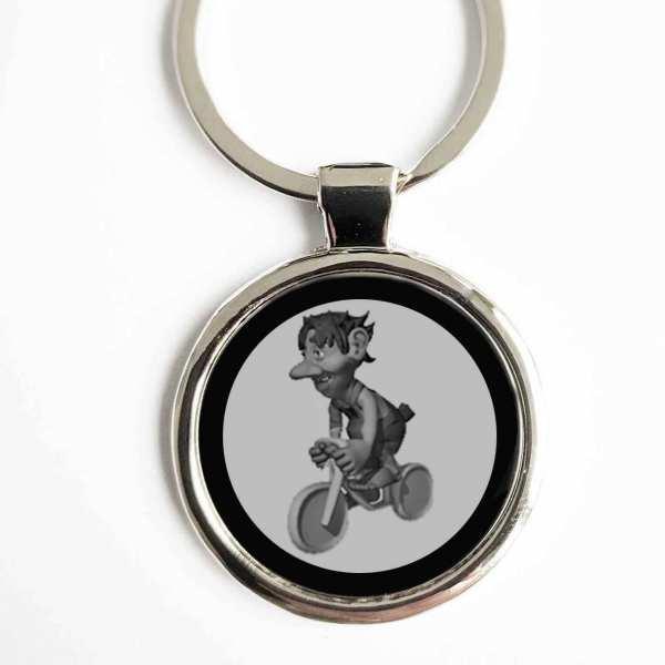Radfahrer Troll Gravur Schlüsselanhänger personalisiert