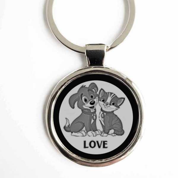 Hund Katze Love Schlüsselanhänger personalisiert mit Gravur