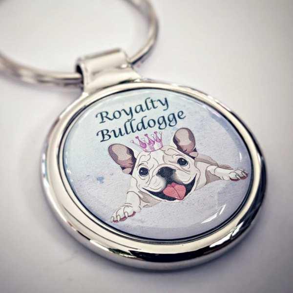 Bulldogge Schlüsselanhänger personalisiert Royal