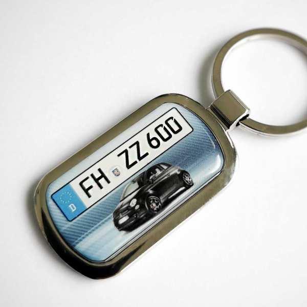 Fiat 500 Kennzeichen Schlüsselanhänger personalisiert mit persönlicher Gravur