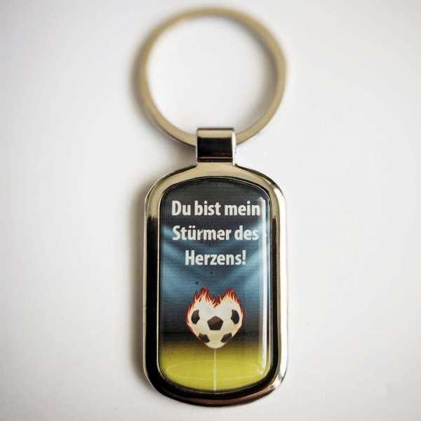 STÜRMER DES HERZENS Fotogeschenk Schlüsselanhänger mit eigenem Text