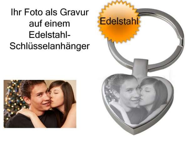 Schlüsselanhänger ♥ Herz mit Foto und Gravur aus Edelstahl