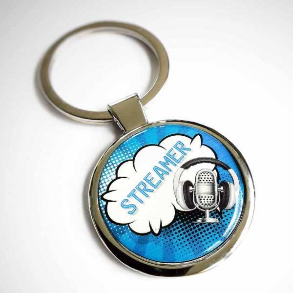Streaming Streamer Schlüsselanhänger personalisiert mit Gravur - blau