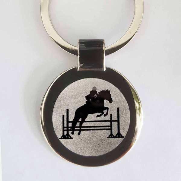 Springreiten Silhouette Schlüsselanhänger mit Gravur - original Fotogravur