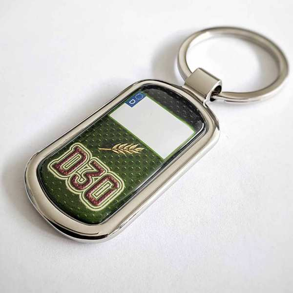 Deutz D30 Schlüsselanhänger mit Kennzeichen und Rückseiten Gravur