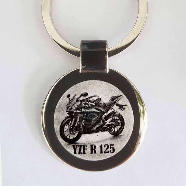 Yamaha YZF R125 Motorrad Schlüsselanhänger personalisiert - original Fotogravur