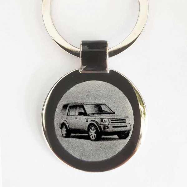 Land Rover Discovery Gravur Schlüsselanhänger personalisiert - original Fotogravur