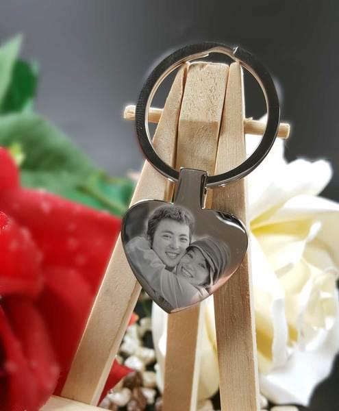 Schlüsselanhänger personalisiert ♥ Herz mit Foto und Gravur aus Edelstahl