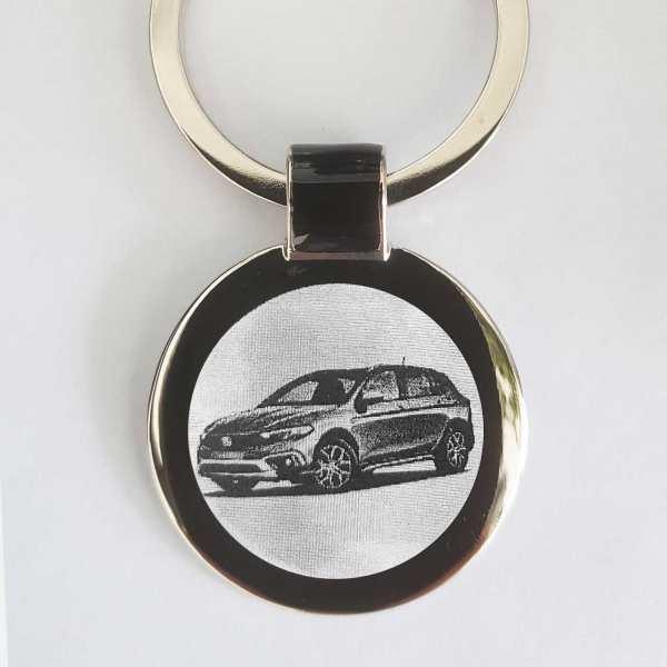 Fiat Tipo Cross Gravur Schlüsselanhänger personalisiert - original Fotogravur