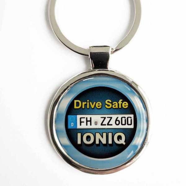 Hyundai IONIQ Drive Safe Schlüsselanhänger & Kennzeichen & Gravur