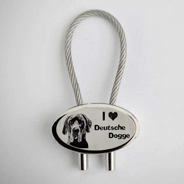 I love Deutsche Dogge Gravur Schlüsselanhänger personalisiert - original Fotogravur