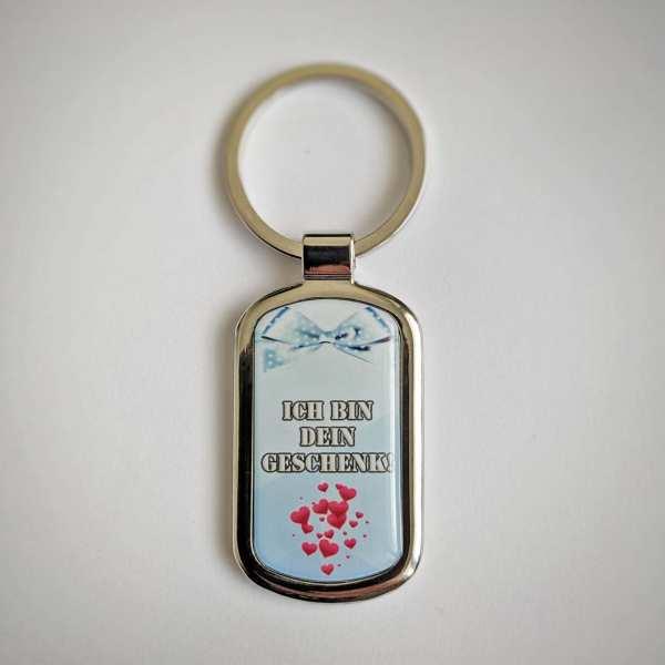 ICH BIN DEIN GESCHENK! Fotogeschenk Schlüsselanhänger personalisiert mit eigenem Text
