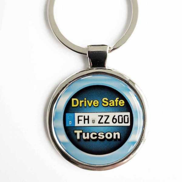 Hyundai Tucson Drive Safe Schlüsselanhänger personalisiert & Kennzeichen & Gravur