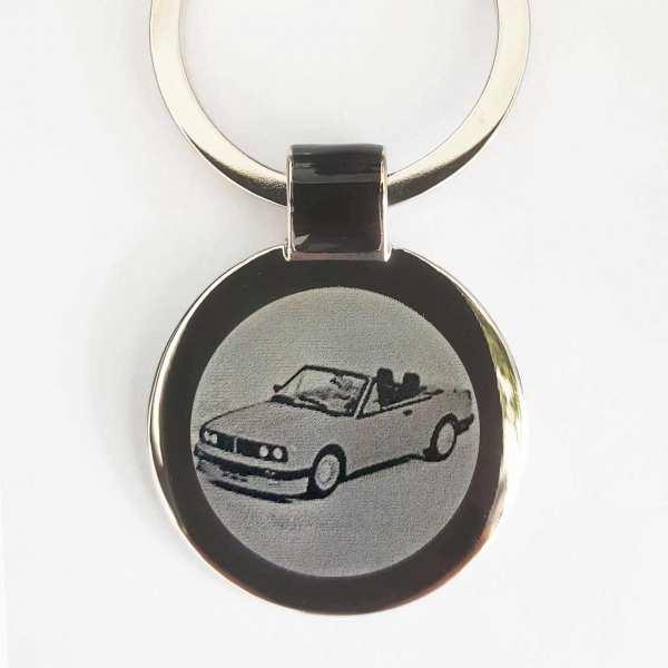 BMW e30 Cabrio Gravur Schlüsselanhänger personalisiert - original Fotogravur