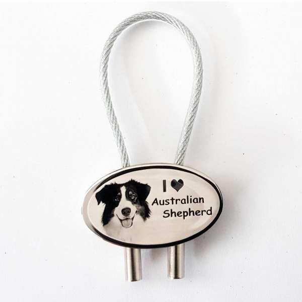 Australian Shepherd Gravur Schlüsselanhänger personalisiert - original Fotogravur