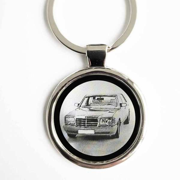 Mercedes 560 SEL Gravur Schlüsselanhänger personalisiert - original Fotogravur