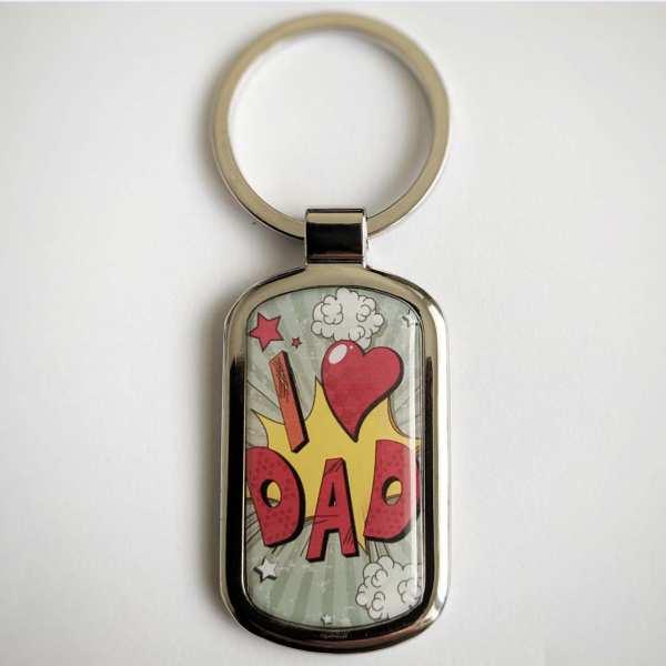 I ♥ DAD Fotogeschenk Schlüsselanhänger personalisiert mit eigenem Text