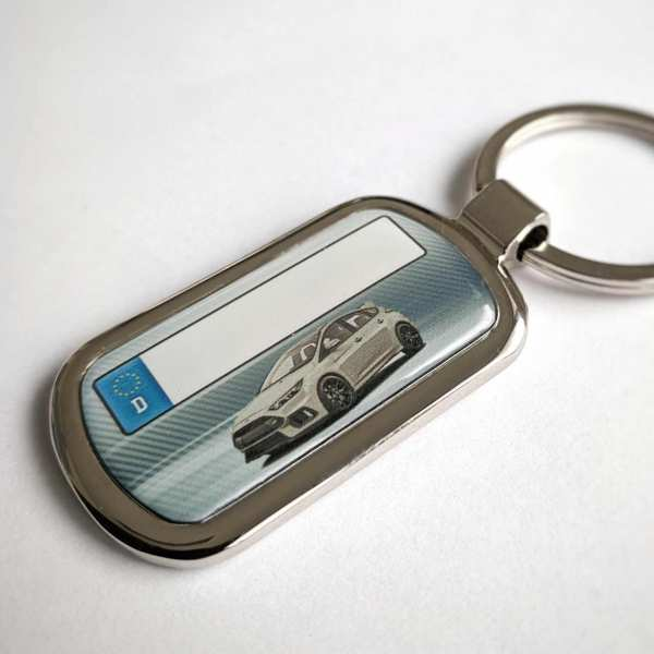 Ford Focus RS mit Kennzeichen Schlüsselanhänger Fotodruck mit Gravur auf der Rückseite