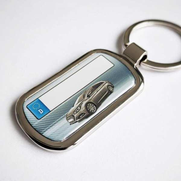 Hyundai i40 mit Kennzeichen Schlüsselanhänger personalisiert Fotodruck mit Gravur auf der Rückseite
