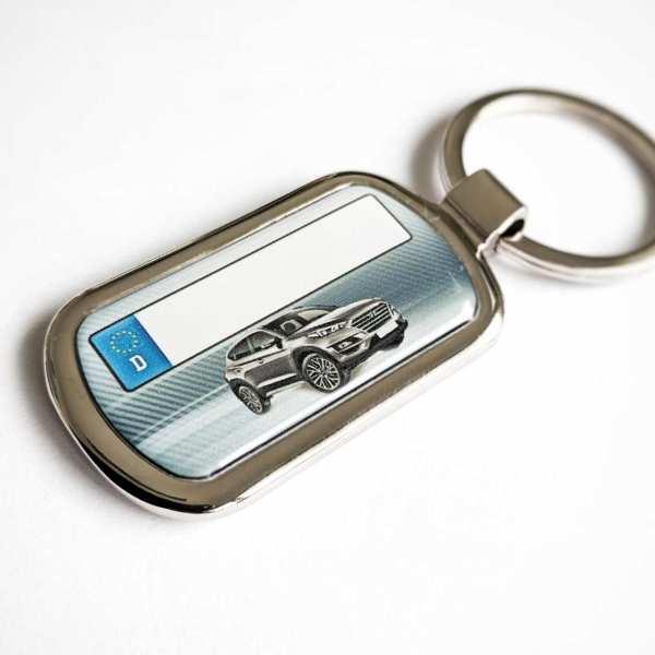 Hyundai Tucson mit Kennzeichen Schlüsselanhänger personalisiert Fotodruck mit Gravur auf der Rückseite