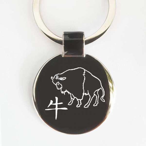 Chinesisches Tierkreiszeichen Büffel Schlüsselanhänger personalisiert