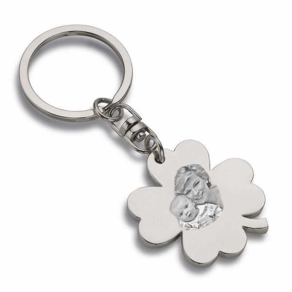 Schlüsselanhänger Glücksbringer Kleeblatt mit Gravur