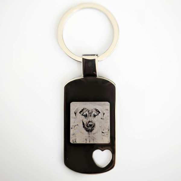 Hund auf Schlüsselanhänger mit Gravur