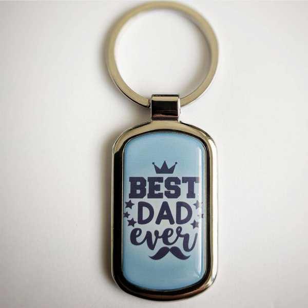 Best DAD ever Fotogeschenk Schlüsselanhänger personalisiert mit eigenem Text