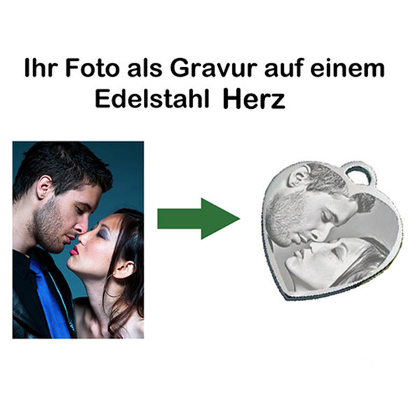 Fotogravur Herzanhänger Edelstahl