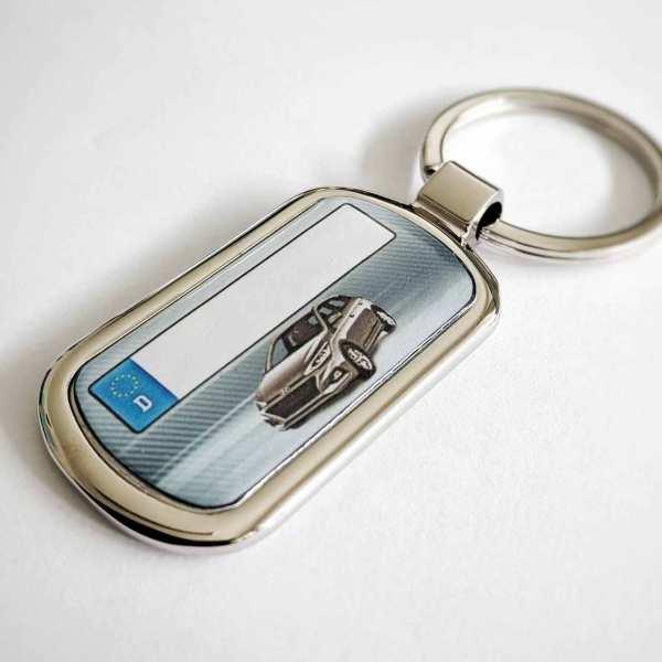Hyundai i20 mit Kennzeichen Schlüsselanhänger personalisiert Fotodruck mit Gravur auf der Rückseite