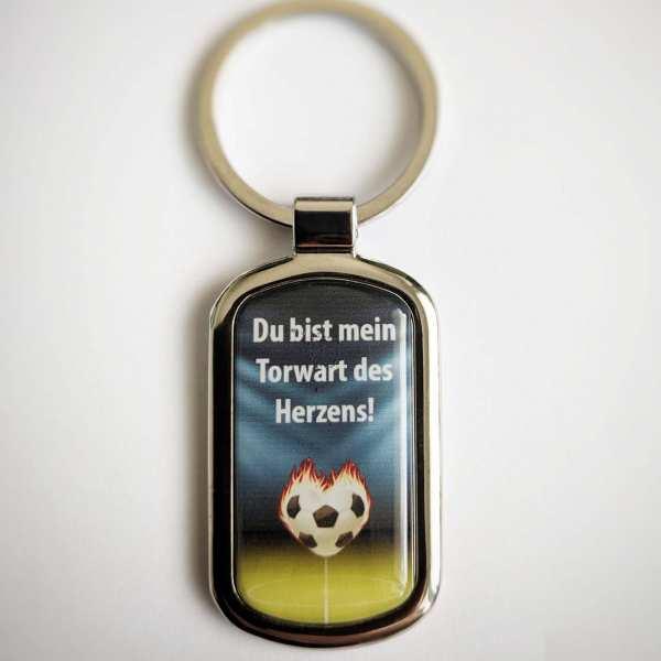 TORWART DES HERZENS Fotogeschenk Schlüsselanhänger personalisiert mit eigenem Text