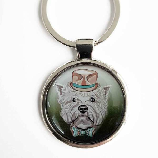 West Highland Terrier Fotoschlüsselanhänger mit Textgravur