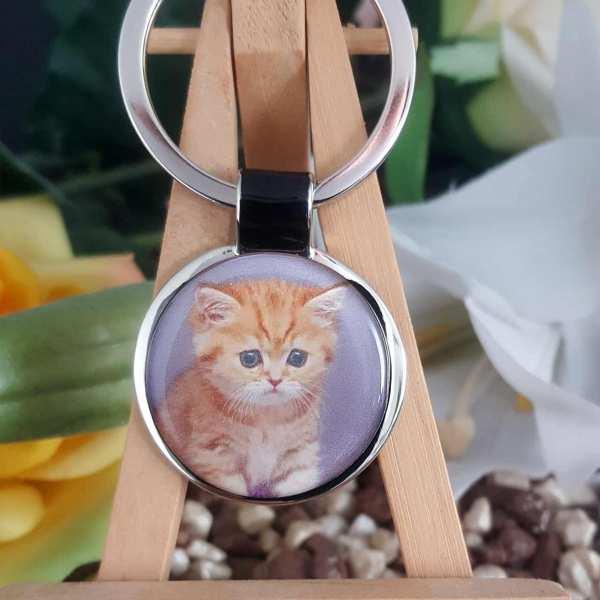 Fotogeschenk Schlüsselanhänger personalisiert Katze eigenes Foto