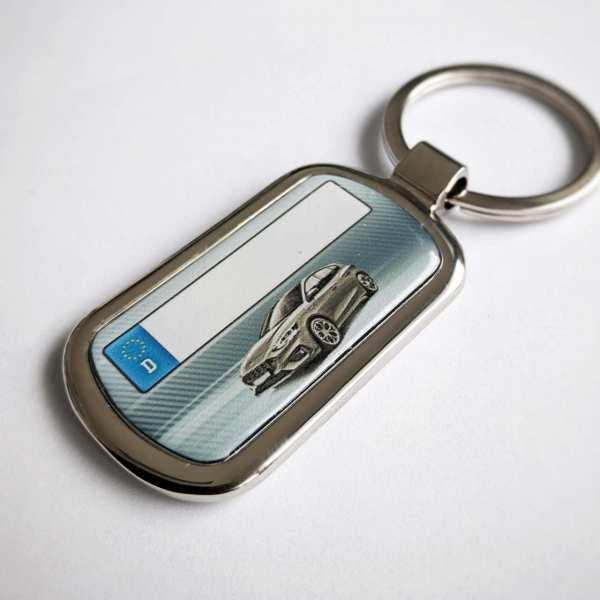 Ford Focus ST mit Kennzeichen Schlüsselanhänger personalisiert Fotodruck mit Gravur auf der Rückseite