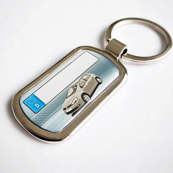 Golf 6 VI mit Kennzeichen Schlüsselanhänger personalisiert Fotodruck mit Gravur auf der Rückseite