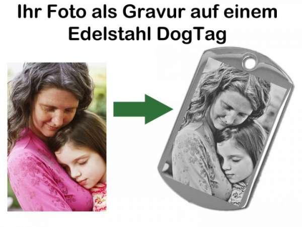 Fotogeschenk Ketten Anhänger Dog Tag XL aus Edelstahl Silber