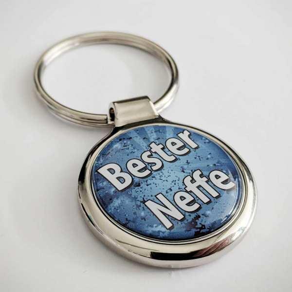 Bester Neffe - Farbdruck Schlüsselanhänger personalisiert mit Gravur