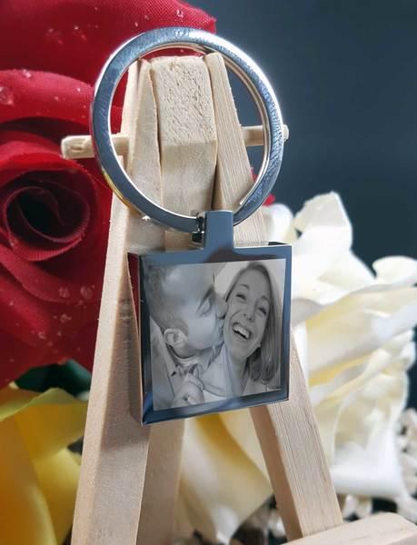 Fotogravur Schlüsselanhänger personalisiert Quadrat