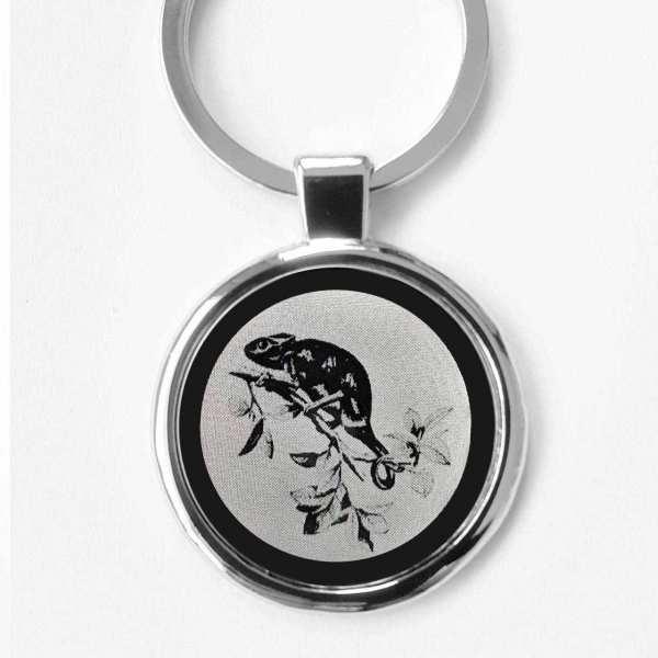 Chamäleon Gravur Schlüsselanhänger personalisiert - original Fotogravur