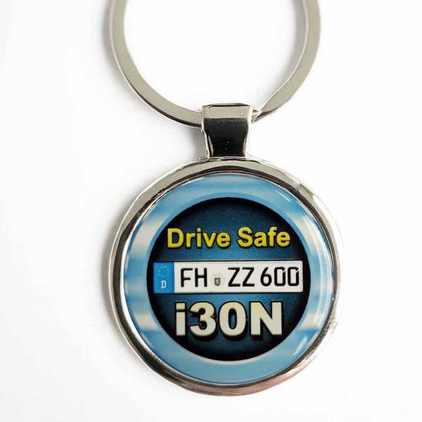 Hyundai i30N Drive Safe Schlüsselanhänger personalisiert & Kennzeichen & Gravur