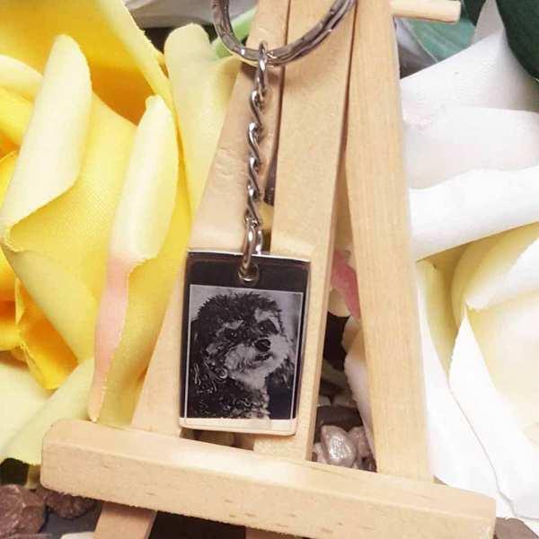 Fotogravur Schlüsselanhänger personalisiert Dogtag aus Edelstahl