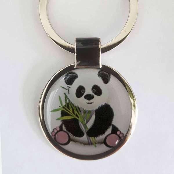Großer Panda Schlüsselanhänger personalisiert mit persönlicher Textgravur hinten