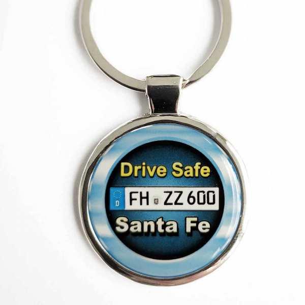 Hyundai Santa Fe Drive Safe Schlüsselanhänger personalisiert & Kennzeichen & Gravur