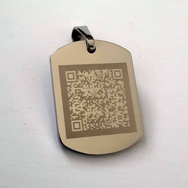 Kette mit QR-Code als Gravur - Fotogravur Schmuckanhänger