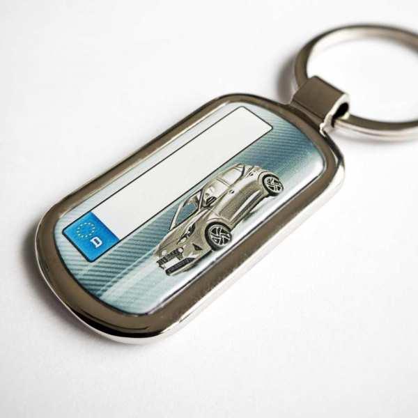 Hyundai i10 mit Kennzeichen Schlüsselanhänger Fotodruck mit Gravur auf der Rückseite