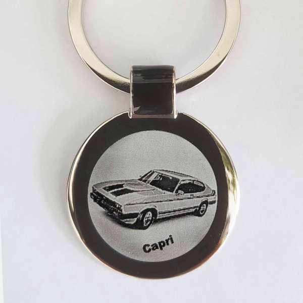 Ford Capri Schlüsselanhänger personalisiert - original Fotogravur mit Gravur