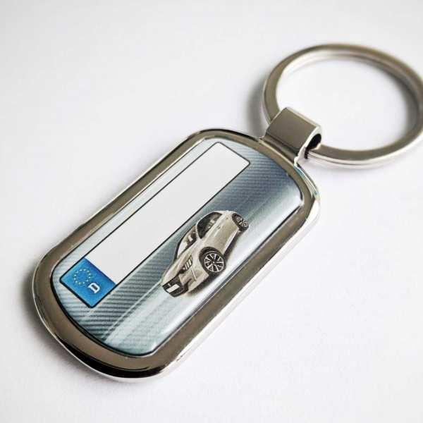Peugeot 208 Schlüsselanhänger personalisiert & Kennzeichen & Gravur auf der Rückseite