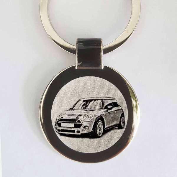 Mini Cooper Facelift 2018 Gravur Schlüsselanhänger - original Fotogravur