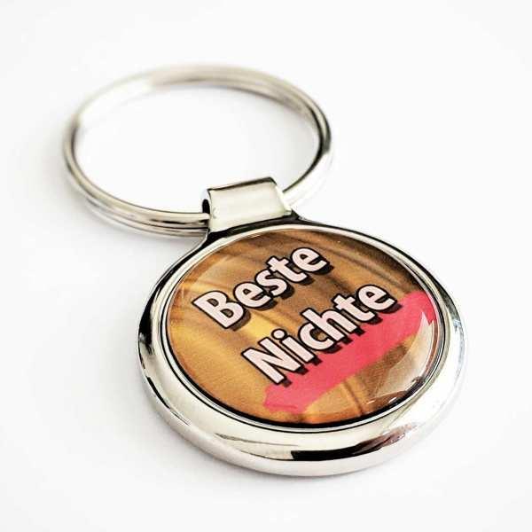 Beste Nichte - Farbdruck Schlüsselanhänger mit Gravur
