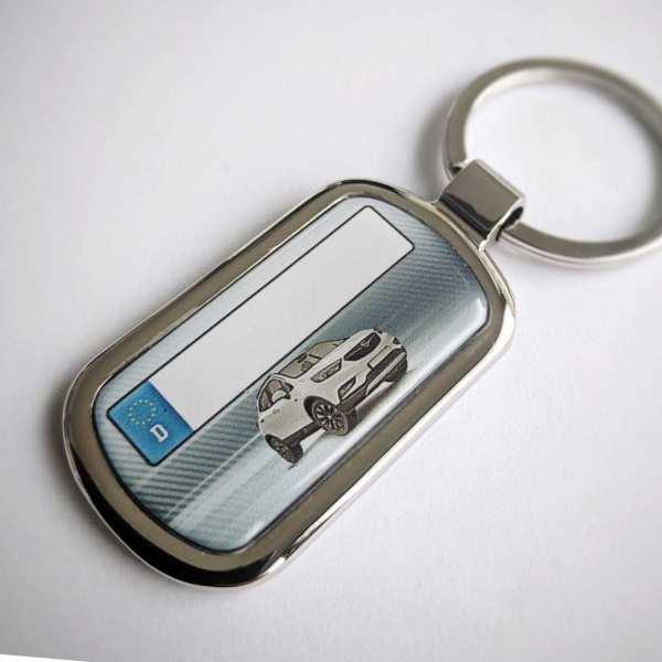 Opel Mokka X Schlüsselanhänger personalisiert & Kennzeichen & Gravur auf der Rückseite